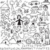 A set of unique hand drawn, child like drawings in. A large collection of hand drawn child-like drawings and doodle design elements in  format Royalty Free Stock Image
