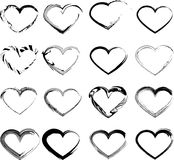 Set of grunge hearts. Set of unique hand drawn hearts. Vector element for your design Royalty Free Stock Images