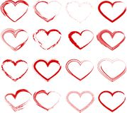 Set of grunge hearts. Set of unique hand drawn hearts. Vector element for your design Stock Photos