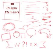 Set of 30 Unique pencil drawing elements: flourish, strokes, lines, arrows, signs, text areas, frameworks stock illustration