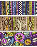 Set of unique seamless pattern and borders. Royalty Free Stock Image