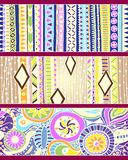 Set of unique seamless pattern and borders. Royalty Free Stock Images