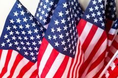A set of United States of America flags. stock photo