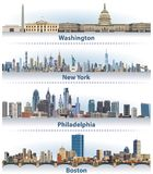 Vector set of United States city skylines Royalty Free Stock Photos
