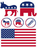 Set of United States Political Party Symbols Stock Photos