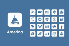 Set of United States simple icons Royalty Free Stock Photography