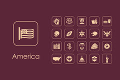 Set of United States simple icons Stock Photos