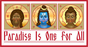 Set the unity of religions. Which contains Jesus, Shiva and Buddha. Vector illustration Royalty Free Stock Photography