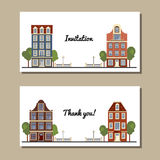 Set of universal cards with old European style buildings. Amsterdam houses. Set of universal cards with old European style buildings. Template. Business card Royalty Free Stock Photo