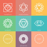 Set of universal colorful chakras icons Royalty Free Stock Photo
