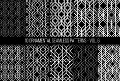 Set of universal different geometric seamless patterns. 10 universal different geometric seamless patterns. Endless vector texture can be used for wrapping Royalty Free Stock Photography