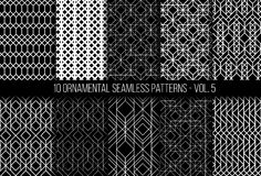 Set of universal different geometric seamless patterns. 10 universal different geometric seamless patterns. Endless vector texture can be used for wrapping Royalty Free Stock Image