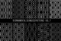 Set of universal different geometric seamless patterns Royalty Free Stock Photos