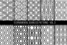 Set of universal different geometric seamless patterns. 10 universal different geometric seamless patterns. Endless vector texture can be used for wrapping Royalty Free Stock Photos