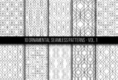 Set of universal different geometric seamless patterns. 10 universal different geometric seamless patterns. Endless vector texture can be used for wrapping Stock Image