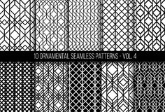Set of universal different geometric seamless patterns. 10 universal different geometric seamless patterns. Endless vector texture can be used for wrapping Royalty Free Illustration