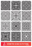Set of Universal different geometric seamless patterns, monochro Stock Photo