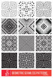 Set of Universal different geometric seamless patterns, monochro Royalty Free Stock Photo