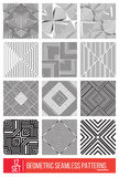 Set of Universal different geometric seamless patterns, monochro Stock Photography