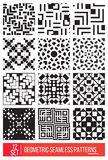 Set of Universal different geometric seamless patterns, monochro Stock Image