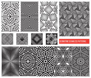 Set of Universal different geometric seamless patterns, monochro Royalty Free Stock Image
