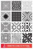 Set of Universal different geometric seamless patterns, monochro Royalty Free Stock Images