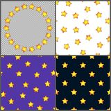 Set of Universal Different Seamless Patterns and Circle Frame of. Bright Yellow Stars. Collection of Continuous Starry Backgrounds and Border Royalty Free Stock Images