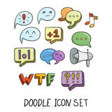 Set of Universal Doodle Icons. Bright Colors and Variety of Topics. Stock Image