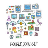 Set of Universal Doodle Icons. Bright Colors and Variety of Topics. Royalty Free Stock Photos