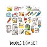 Set of Universal Doodle Icons. Bright Colors and Variety of Topics. Royalty Free Stock Photography