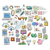 Set of Universal Doodle Icons. Bright Colors and Variety of Topics. Stock Images