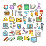 Set of Universal Doodle Icons. Bright Colors and Variety of Topics. Royalty Free Stock Images