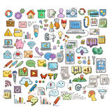 Set of Universal Doodle Icons. Bright Colors and Variety of Topics. Stock Photography