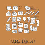 Set of Universal Doodle Icons. Variety of Topics. Royalty Free Stock Photos