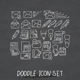 Set of Universal Doodle Icons. Variety of Topics. Royalty Free Stock Photo