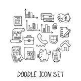 Set of Universal Doodle Icons. Variety of Topics. Protection and Money Stock Photo