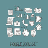 Set of Universal Doodle Icons. Variety of Topics. Protection and Money Royalty Free Stock Photo
