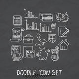 Set of Universal Doodle Icons. Variety of Topics. Protection and Money Stock Photos