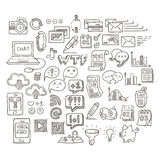 Set of Universal Doodle Icons. Variety of Topics. Stock Photos