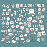 Set of Universal Doodle Icons. Variety of Topics. Web, Mail and Money Royalty Free Stock Image