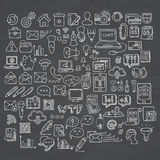 Set of Universal Doodle Icons. Variety of Topics. Stock Photo