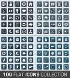 Set of 100 universal flat modern icons. With shadow stock illustration