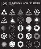 Geometric Shapes Logo. Set 25 Universal Geometric Shapes For Design Black And White Color Stock Photos