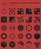 Geometric Shapes Logo. Set 25 Universal Geometric Shapes For Design Red And Black Royalty Free Stock Image