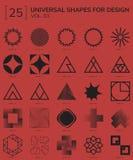Geometric Shapes Logo. Set 25 Universal Geometric Shapes For Design Red And Black Stock Photo