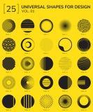 Geometric Shapes Logo. Set 25 Universal Geometric Shapes For Design Yellow And Black Royalty Free Stock Photo