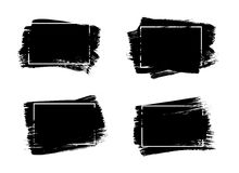 Set of universal grunge black paint background with frame. Dirty artistic design elements, boxes, frames for text. Stock Photography