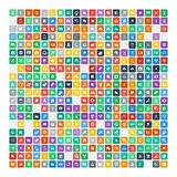 Set of 200 Universal Icons. Business, internet, web design. Royalty Free Stock Photography