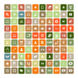 Set of 100 Universal Icons. Business, internet, web design. Set of 100 Universal Icons. Simple Flat Style. Business, internet, web design, random pictogram Stock Photo