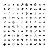 Set of 100 Universal Icons. Business, internet, web design. Set of 100 Universal Icons. Simple Flat Style. Business, internet, web design, random pictogram Royalty Free Stock Photo